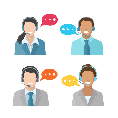 customer service phone: Male and female call center avatar icons with a man and woman wearing headsets  concepts of client services and communication Illustration