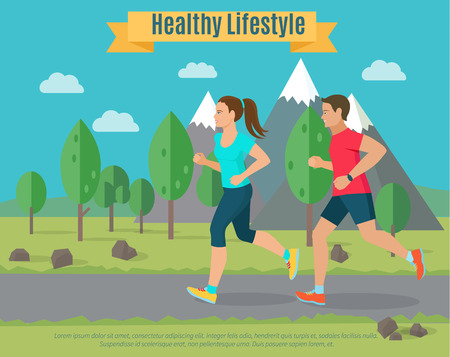Healthy lifestyle illustration . Woman and man jogging .