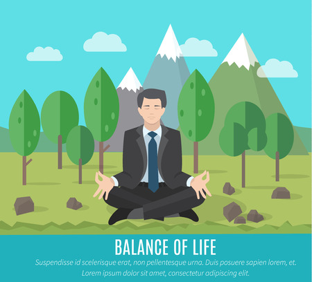 Businessman meditating in yoga pose outdoors. The concept of the balance of work and life.