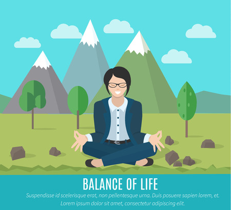 life is good: Businesswoman meditating in yoga pose outdoors. The concept of the balance of work and life.