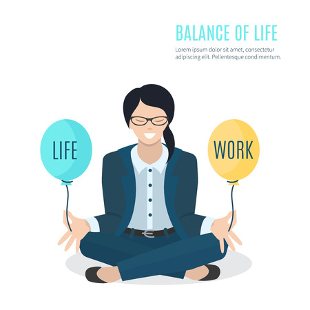 work life: Businesswoman meditating. Woman balancing life and work