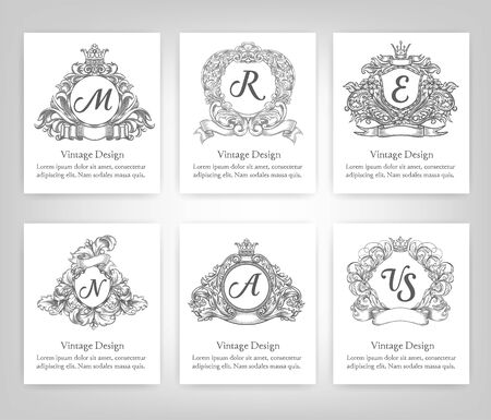 wine background: Vintage Style Monogram symbol border and frames