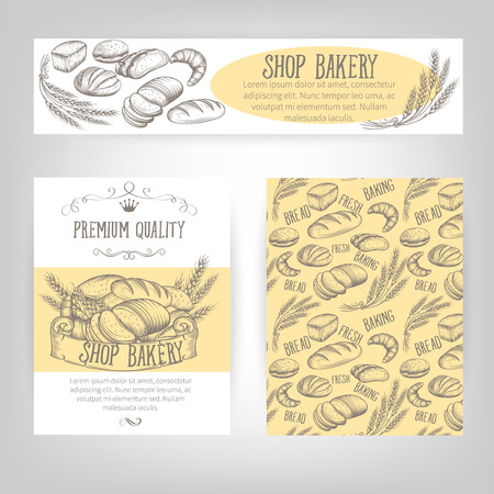 Corporate identity set design with baking and bread. Illustration