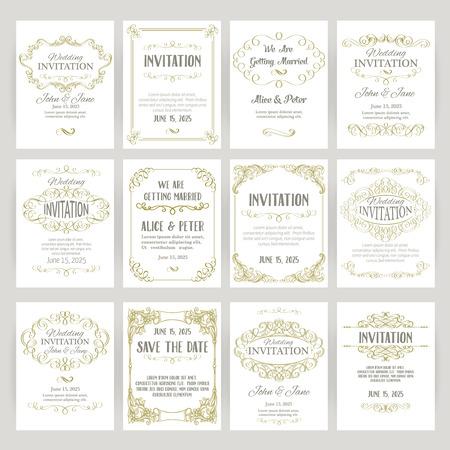 verschnörkelt: Satz von Vorlagen mit Banner Vintage-Design-Elemente Illustration