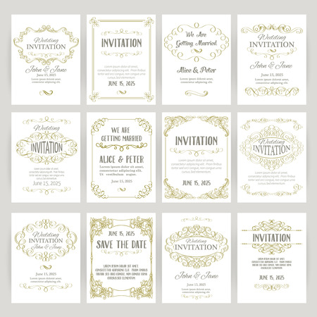 antique background: set of templates with banners vintage design elements