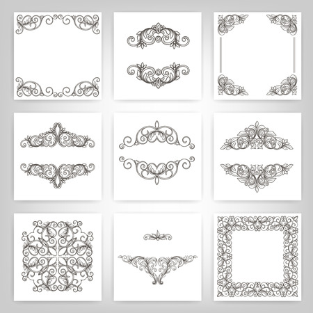 old page: vector set  calligraphic design elements and page decoration, Vintage Frame