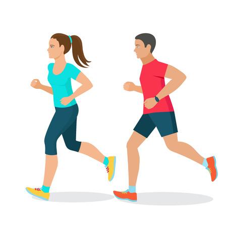 hombre flaco: hombre corriendo y la mujer, el concepto de fitness, perseguidor de la aptitud