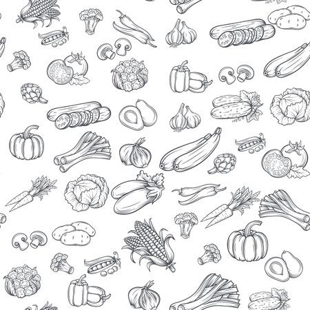 Naadloos patroon met hand getrokken groenten. Vector illustratie. Geïsoleerd op witte achtergrond