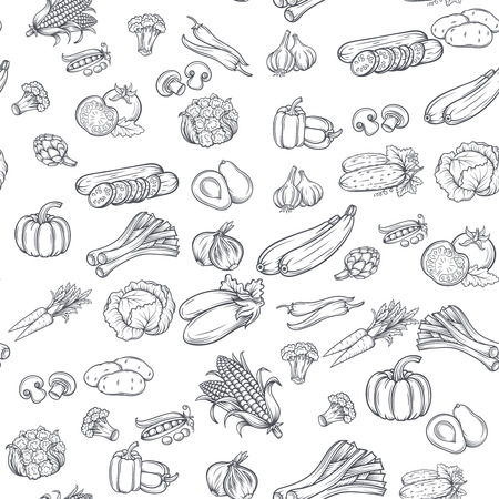 Seamless pattern with hand drawn vegetables. Vector illustration.  Isolated on white background Vettoriali