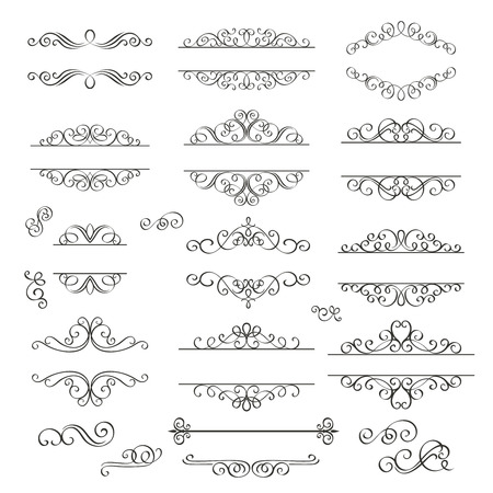 formal: Set swirls decorative design  elements . Decorative Victorian  style.