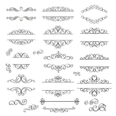 Set turbinii elementi di design decorativi. stile vittoriano decorativo.