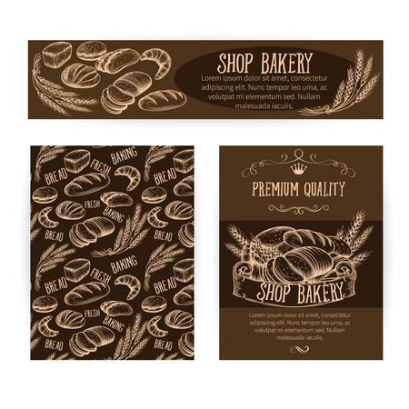 scratchboard: Corporate identity set design with baking and bread. Scratchboard illustration style.