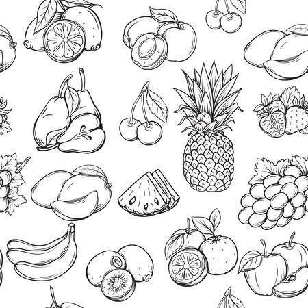 owocowy: Ręcznie narysować owoce szwu wzorca. Zabytkowy styl. Ilustracja