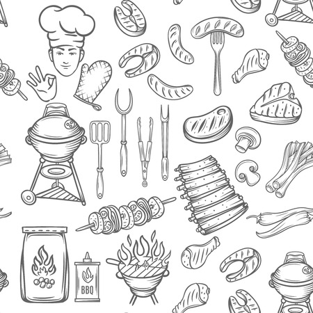 grill pattern: Hand drawn  vector seamless pattern barbecue, black line.