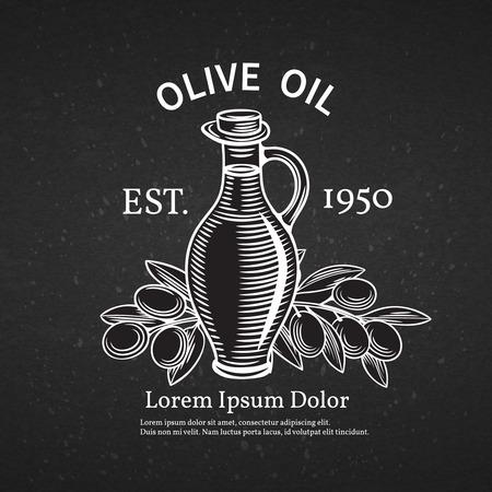 restaurante italiano: Dibujado a mano etiqueta decorativa con una botella de aceite y aceitunas. Ilustración del vector.