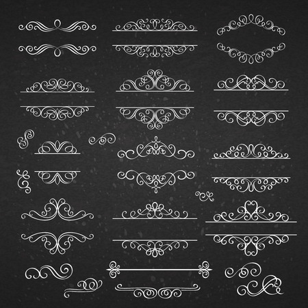 ornamental: Set swirls decorative design  elements . White line on the black .Victorian  style.