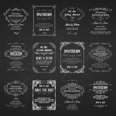 Conjunto de modelos de banners con elementos de diseño vintage para tarjetas de felicitación, invitaciones, menús, etiquetas, diseño de páginas. Ilustración de vector