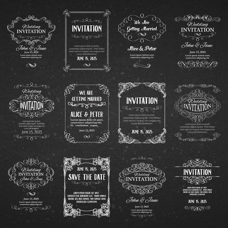 flourishes: Set of templates with banners vintage design elements for greeting cards, invitations, menus, labels, design page.