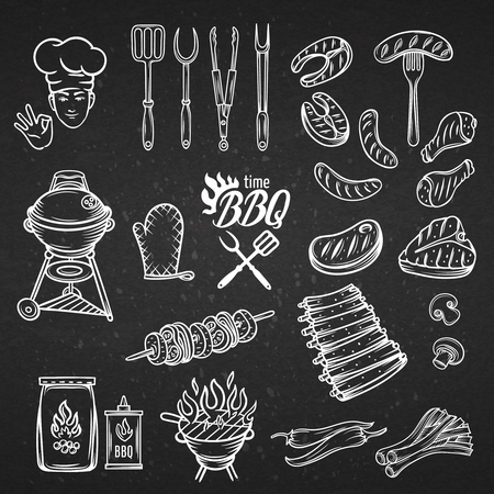 parrillero: BBQ Fiesta Party Set, el estilo de grabado de época, ilustración vectorial aislados, elementos dibujados a mano. Línea blanca en el negro.