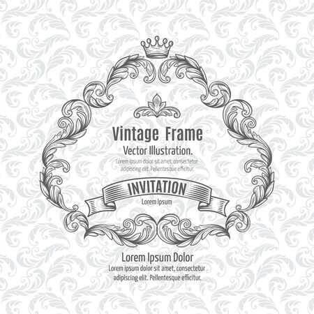 renaissance: Frame acanthus vintage signage renaissance borders swirl scroll classic filigree. Vector Illustration.