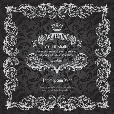 white frame: Frame acanthus vintage emblem victorian borders swirl scroll classic filigree . White line on the black . Vector Illustration.