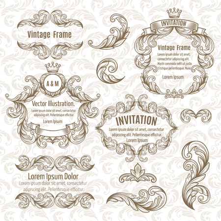 victorian frame: Set  frame and vintage design elements. Vector illustration.