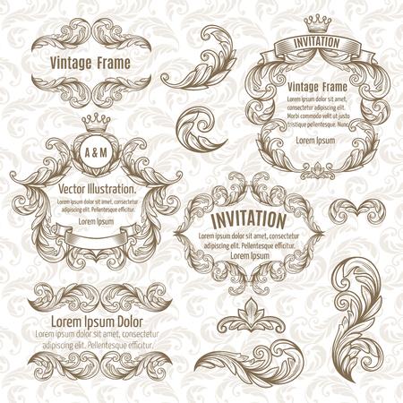 Stellen Rahmen und vintage design elements. Vektor-Illustration. Standard-Bild - 44508044