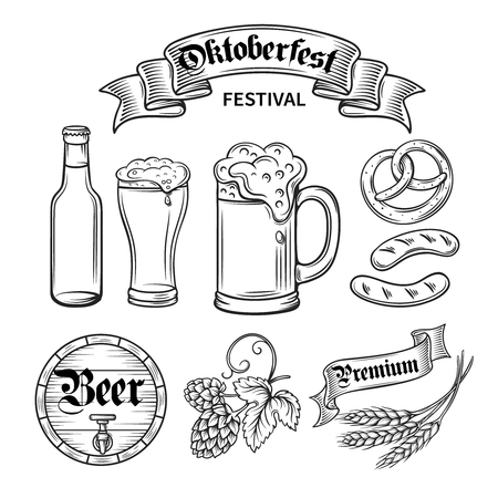 cerveza: mano dibujar conjunto oktoberfest cerveza decorarive, línea de negro