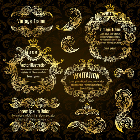 scroll design: Set  gold frame and vintage design elements. Vector illustration.