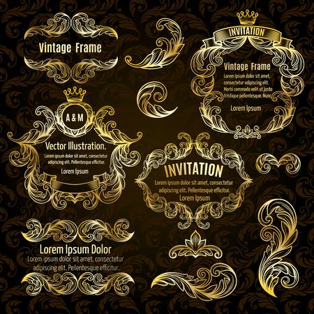 ornamental scroll: Set  gold frame and vintage design elements. Vector illustration.