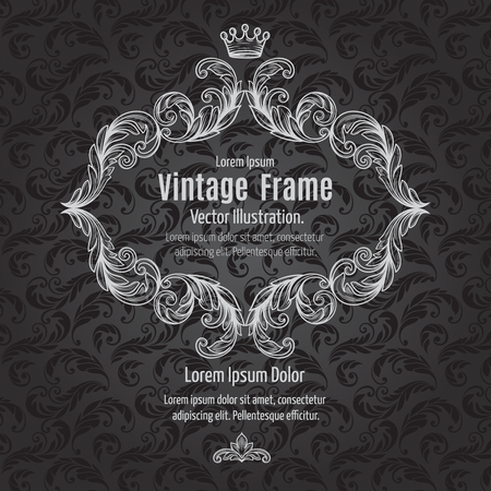 Frame acanthus vintage signage renaissance borders swirl scroll classic filigree and ribbon .Vector Illustration.