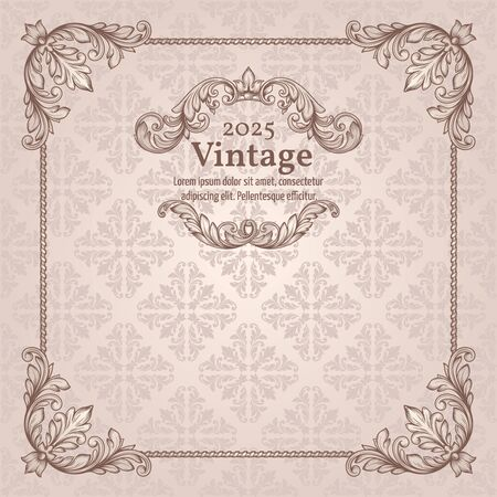 victorian frame: Vintage invitation border and frame template Victorian style Illustration