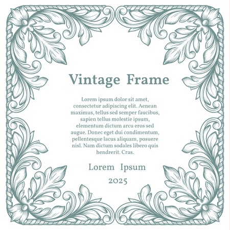 scroll design: Vintage square ornate frame in Victorian style