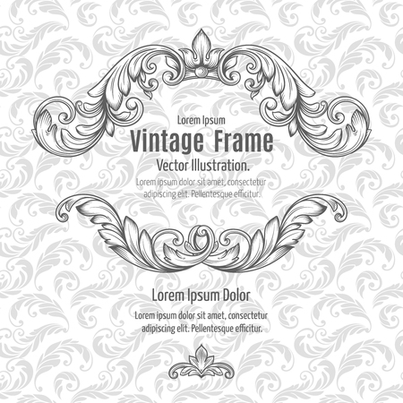 Frame acanthus vintage signage renaissance borders swirl scroll classic filigree. Vector Illustration.