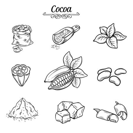 set hand draw decorative cocoa chocolate, black line