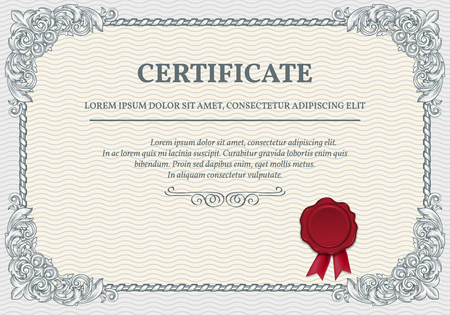 Horizontal certificate template with retro design elements