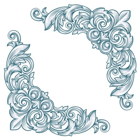 page corner curl: Decorative Vintage Border Corner  Frame Corner for design