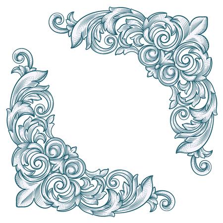 Dekorative Weinlese Border Corner Frame-Corner für Design Standard-Bild - 47196710