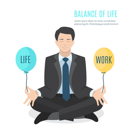work stress: Businessman meditating. Man balancing life and work