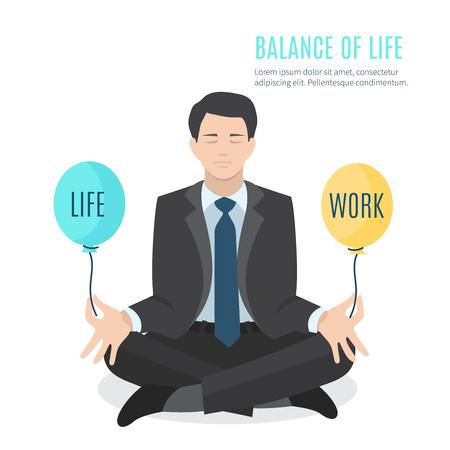Businessman meditating. Man balancing life and work