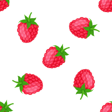 raspberry pink: seamless pattern with red raspberries, vector illustration Illustration