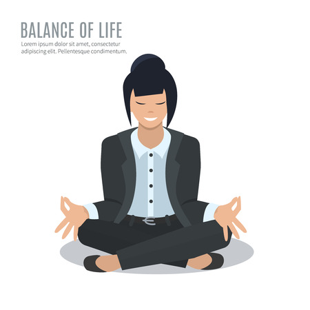 woman pose: Business woman in yoga pose, vector illustration