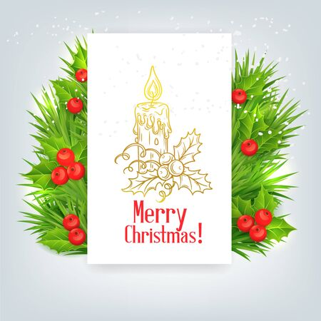 waxen: background with Christmas holly and candle, vector illustration