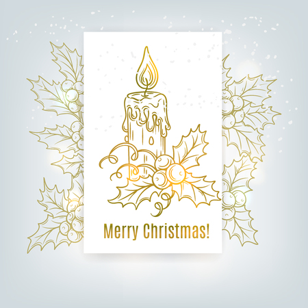 Christmas decorative background with holly branches and candle