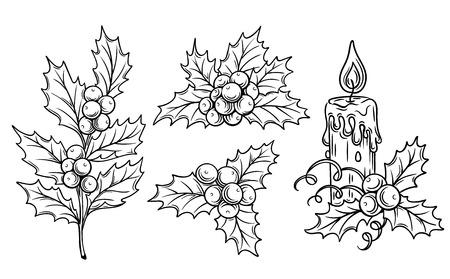 dekorative Stechpalmenzweige und festliche Kerze für das Scrapbooking, Färbung und einem festlichen Entwurf.