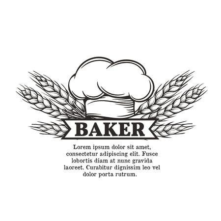 cocinero: cocinero etiqueta con el toque y espiguillas de trigo para restaurante, cafetería y diseño del menú
