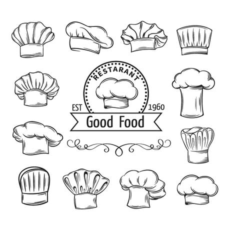 pasteleria francesa: Gorros de chef decorativos y sombreros fijado para restaurante, cafetería y diseño del menú