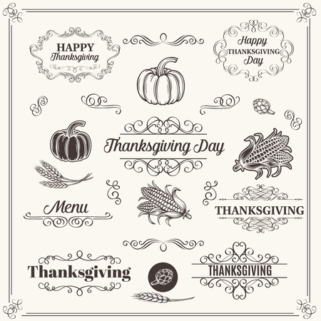 Set of Decorative Elements  Dividers Frames  Borders  Swirls and Scrolls. Design  Thanksgiving. Vector Illustration.