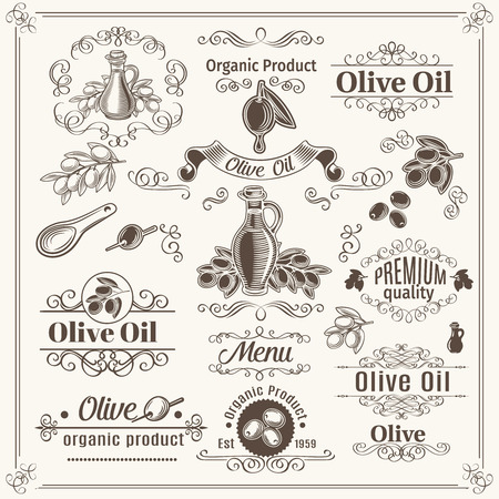 foglie ulivo: elementi d'epoca e divisori pagina decorazione, confini, turbinii, scorre e cornici. Design olio di oliva. Illustrazione vettoriale.