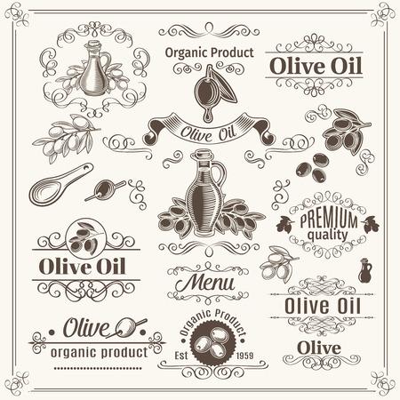 hoja de olivo: Elementos de la vendimia y divisores de la página de decoración, las fronteras, los remolinos, las volutas y marcos. Aceite de Oliva diseño. Ilustración del vector.
